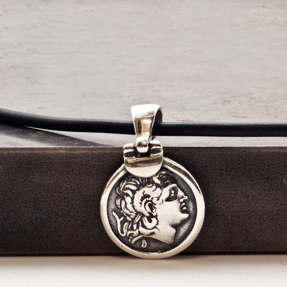 Ancient Greek Coin Necklace, Men Sterling Silver Pendant Alexander the Great, Greek Coin Necklace, Statement Unisex Necklace, Greek Jewelry