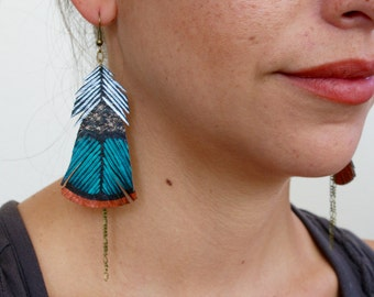 Painted Faux Leather Earrings, Turkey Feathers, Handmade Dangle Earrings