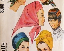 McCall's 8009 Vintage Hat Pattern, 4 Quickie hats, 60s Turban Hats, in 2 sizes, Mad Men Hats Caps, Tie Wrap Hats