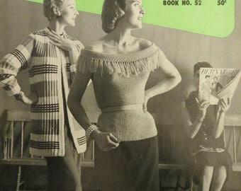 Vintage 1956 Bernat Knitting Pattern Book, 35 Styles, Coats Skirts Dresses Blouses, Bernat Handicrafter Book 52, Fashion Show Book Retro 50s
