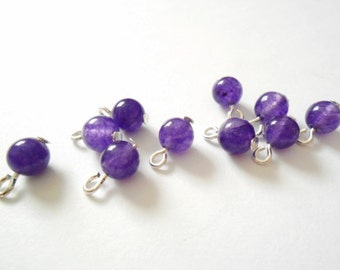 Natural White Jade Dyed Purple Dangle Beads