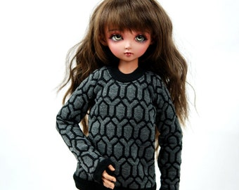 MSD Grey And Black Geometric Sweater For BJD