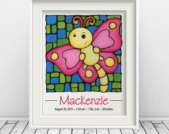 Pink Butterfly Personalized Print - Birth Details - Pink Butterfly Baby Keepsake - Baby Girl Nursery Decor - Baby Announcement - 8 x 10 inch