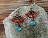 Finale. Hammered Artisan Boho Copper Chandelier Drop Earrings with Wire Wrapped Smoky Quartz, Orange Sunstone, and Aqua Chalcedonyn Gems