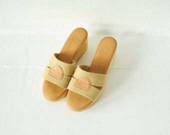 Vintage 70's Cherokee Of California Wavy Wedge Platform Sandals, Womens 7