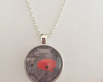 Poppy Necklace - Remembrance Necklace - Poppy Jewellery - Gift For Her - Flower Jewelry - Glass Pendant