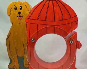 Tricky Dog by a Red Fire Hydrant Wooden Bank - Personalized Free