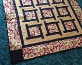 SUNFLOWER LAP QUILT Large Baby Blanket Red Yellow Green Tan 51 inch square
