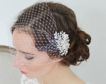 Ivory or White Veil Crystal Rhinestone Headpiece Comb Bridal Wedding Accessories