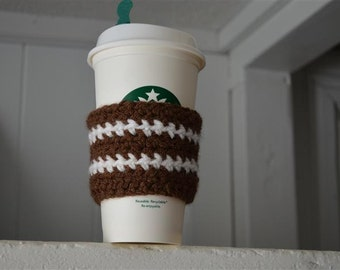 Football Crochet Cup Cozy perfect for a Gift, personalize your cup while being eco friendly / Coffee Cup Warmer