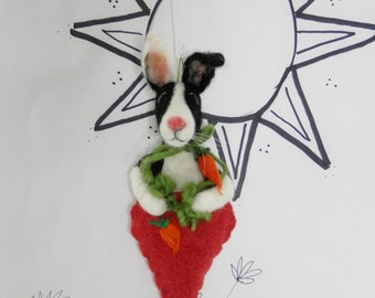 Needle felted black and white bunny in carrot ornament, Dutch bunny, decor or for the bunny lover, black white rabbit, ready to mail Bunny