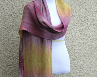 Luxury gift for her, woven scarf, handwoven wrap in pink fuchsia mustard yellow extra long scarf with fringe gift for her