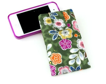 iPhone6s Sleeve, Samsung Smart Phone Covers, iPhone SE Case,Fabric Padded Cover, Plum Blossoms Green