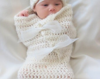 CROCHET PATTERN - Cocoon and Hat Pattern - Newborn Photo Prop - Crochet Baby Pattern - Crochet Patterns by Deborah O'Leary