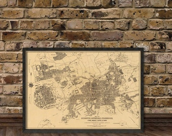 Map of Plymouth, Devonport, Stonehouse, Stoka, Moricetown and Ford  - Fine reproduction