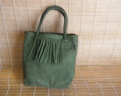 Vintage Faded Green Suede Shoulder Strap Purse Bag Tote