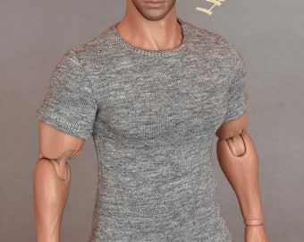 1/6th scale XXL grey T-shirt for: Hot Toys TTM 20 size bigger action figures and male fashion dolls