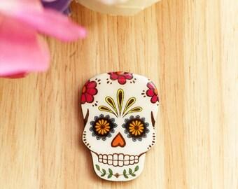 Mexican Sugar Skull Brooch