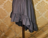 "High Low Mini Cecilia Skirt -- Steel Grey Cotton -- Ready to Ship -- Best Fits Up To 38"" Waist"