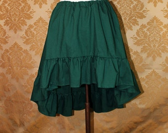 """High Low Mini Cecilia Skirt -- Forest Cotton -- Ready to Ship -- Best Fits Up To 34"""" Waist"""