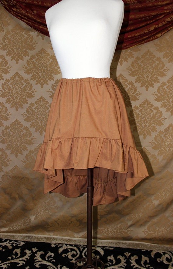 "High Low Mini Cecilia Skirt -- Caramel Cotton -- Ready to Ship -- Best Fits Up To 36"" Waist"