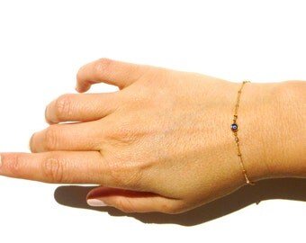 Evil Eye Bracelet - Gold Mini Evil Eye Charm - 14kt Gold Fill Chain - Stackable Bracelets - Gift for Her - Aylin