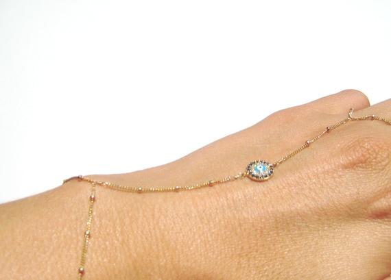 Evil Eye Bracelet - Slave Bracelet - 14kt Gold FIlled - Evil Eye Slave Bracelet - Swarovski - Hand Chain // Aylin Madden
