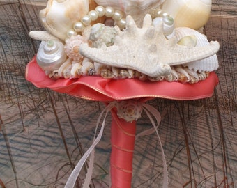 Coral Bridesmaid Seashell Bouquet / Beach Bouquet/ Seaside Bouquet/ Summer Bouquet/ Wedding Bouquet
