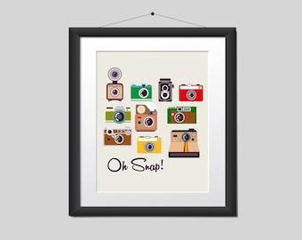 Oh Snap Retro Camera Digital Downloadable Wall Art Print