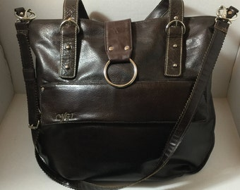 Dark Brown, faux leather, leather, shoulder bag, crossbody, Large, Zipper, Pockets, Silver, Buckle, Purse, hand