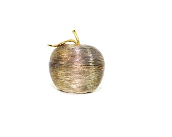 Vintage Pewter Apple Ring Box Silver Apple Ring Box Engagement Ring Box Wedding Ring Box Apple of your Eye