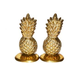 Vintage Brass Pineapple Bookends Brass Bookends Pineapple Bookends Pineapple Home Decor