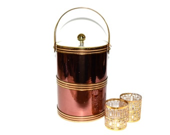 Copper Ice Bucket Copper and Gold Ice Bucket Tall Ice Bucket Champagne Ice Bucket Georges Briard Barware