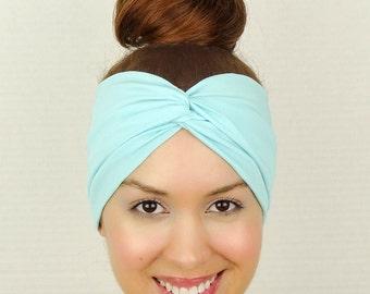 Twist Headband Women's Accessories Blue Turban Headband Blue Turban Head Wrap Women Turban Wide Headband Blue Stretch Headband Yoga Headband