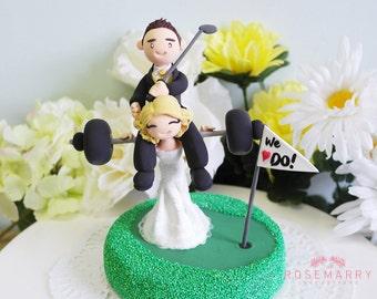 Custom wedding cake topper - Sports lovers