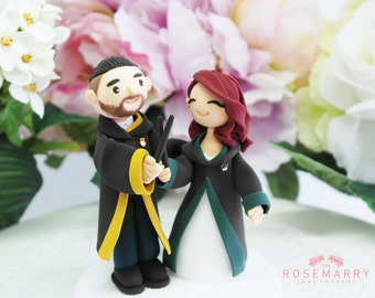 Custom Cake Topper- Magician couple from Hogwarts