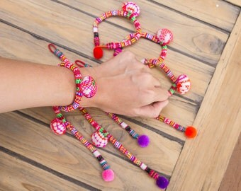 Hmong Bracelet / Pompom bracelet with Embroidering bracelet/cuff/Ethnic accessory /Wholesale