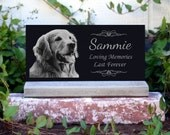 Pet Memorial Stone Pet Grave Marker  With *Base Stand* Granite Headstone Customized with YOUR Pets Photo.