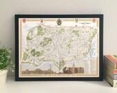 Haringey (Borough) illustrated map giclee print