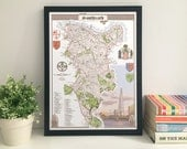 Southwark (Borough) illustrated map giclee print
