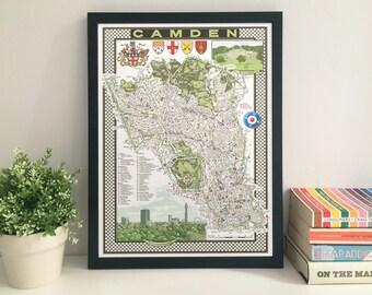 Camden (Borough) illustrated map giclee print