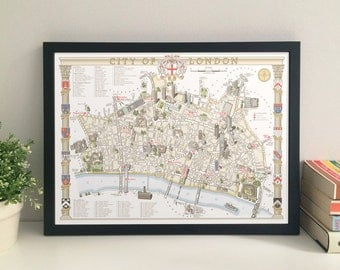 City Of London illustrated map giclee print
