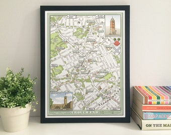 Crouch End (London N8) illustrated map giclee print