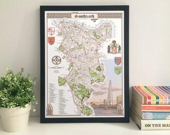Southwark (Borough) illustrated map giclee print