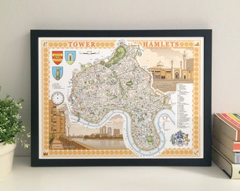 Tower Hamlets (borough) illustrated map giclee print