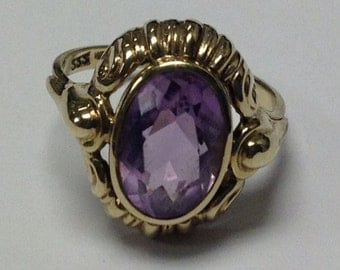 Sale! Vintage 10k Yellow Gold 3ct. Vibrant Amethyst Ring Sale!