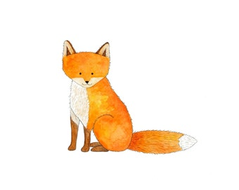 Red Fox Print - Kids Wall Art - Woodland Nursery
