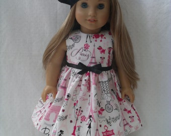 18 Inch Doll-American Girl Dress: A day in Paris dress for Grace with or without beret