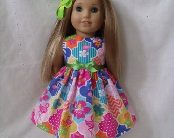 18 Inch Doll-American Girl Dress: Flamingo Island dress and hair clips for Lea Clark