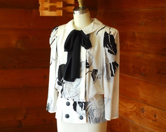 vintage Louis Feraud black and white floral print silk blouse / size small medium